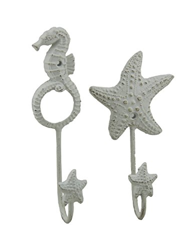 White Cast Iron Seahorse and Starfish Decorative Wall Hook Set (Cast Iron Sea Horse Hook compare prices)