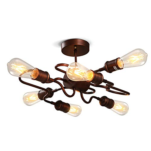 NIUYAO Industrial Vintage Style Wrought Iron Metal Flush Mount Ceiling Light Lamp with 6 Lights, Antique Copper Finished
