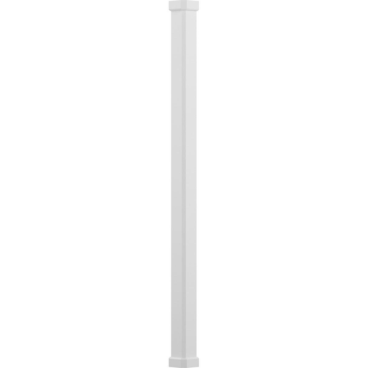 AFCO EA0608ENPSACRCR 6'' x 8' Endura-Aluminum Craftsman Style Column, Square Shaft (Load-Bearing 20,000 lbs), Non-Tapered, Textured White Finish w/ Capital & Base