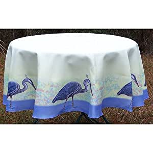 """Heron Tablecloth Size: 68"""" W Round"""