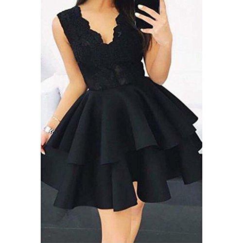 En Femme Parti V Femmes Robe Mini Col Dentelle Shuchangle Polyester Patchwork Black Sans Manches w70n8P4q
