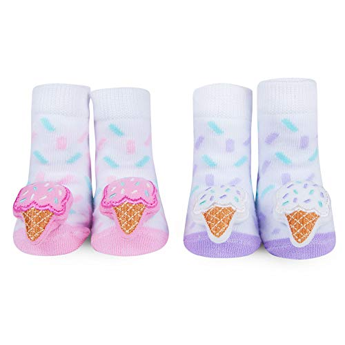(WADDLE Baby Girls Socks Pink Ice Cream Cone Rattle Toy Gift Set 0-12 Months)
