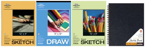 Pro Art Drawing and Sketching Paper Value Pack, Spiral Bound Pad by PRO ART