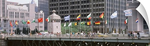 Canvas On Demand Wall Peel Wall Art Print entitled Flags on a bridge, Michigan Ave Bridge, Chicago, Illinois - Michigan Ave And Chicago