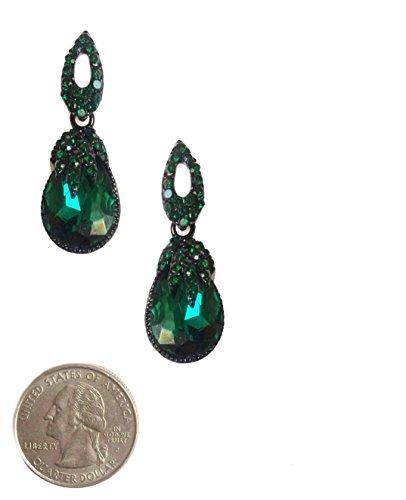 (Art Deco Retro Vintage Style Dark Emerald Green Pear Formal Wedding Bridal Prom Rhinestone Earrings)