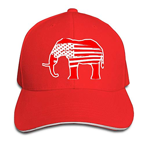 - SNMHILL Men Women Red Elephants USA Flag Fashion Peaked Sandwich Hat Sports Adjustable Baseball Cap Unisex