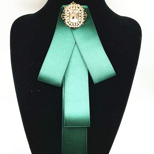 School Necktie Women Handmade Satin Ribbon Bowtie pins Bowknot Shirt Tie Clips Brooch for Jewelry (Glass Green Brooch)