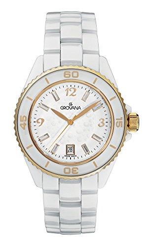 Grovana Women's 'Ladies Dressline' Swiss Quartz Ceramic Casual Watch, Color:White (Model: 4001-1153)