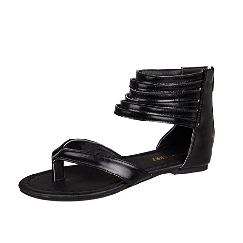 (G&Kshop Gladiator Sandals,Women Cross Strap Shoes Flip Flop Ankle Buckle Thong Flat Sandals (8.5B(M) US, Black))