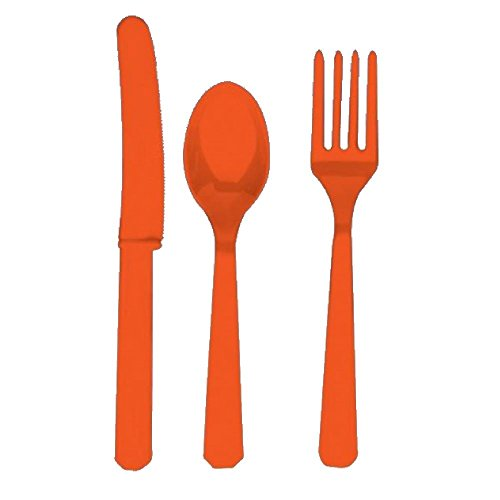 24 Plastic Cutlery Birthday Wedding Solid Colours Tableware Party Supplies plastic spoons and forks set (Orange) -
