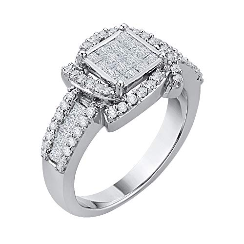 (KATARINA Princess Cut Diamond Center Cluster Channel Set With Round Side Stone Fashion Ring In Sterling Silver (7/8 cttw, G-H, I2-I3) (Size-6.75))