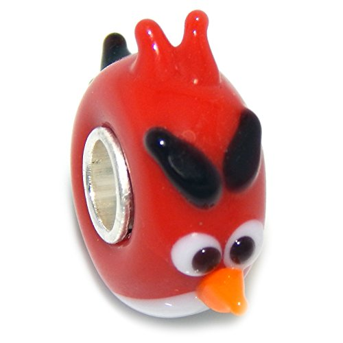 Pro Jewelry 925 Solid Sterling Silver Red Angry Bird Glass Charm Bead