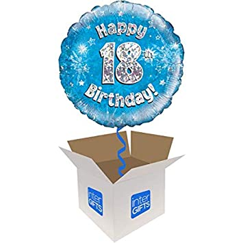 InterBalloon Helium Inflated Happy 18th Birthday Blue Holographic Balloon Delivered In A Box