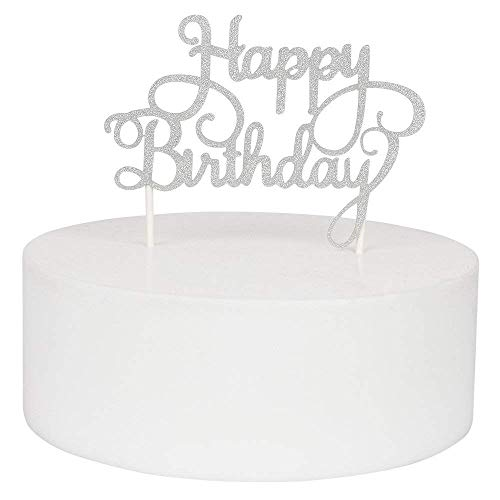 (KISKISTONITE Happy Birthday Cake Toppers Single Sided Silver Glitter Party Decorations Special Event)