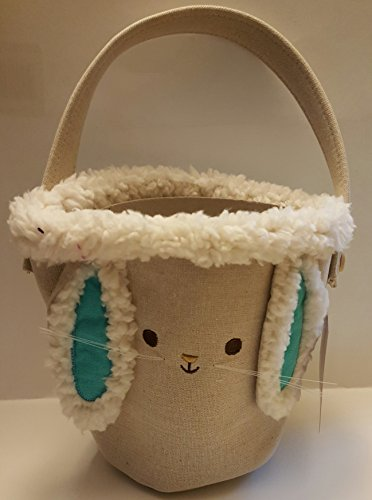 Spritz Easter Bunny Soft Plush Basket Cream Colored with blue ears Measures 7.5