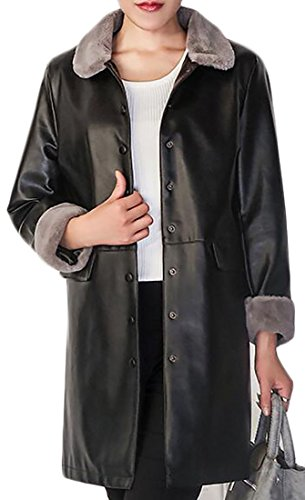 4 Button Leather Coat - 7
