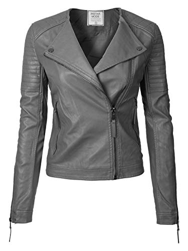 Womens Racer Jacket - Instar Mode Urban Classic Moto Biker Racer Faux Leather Jacket Charcoal S