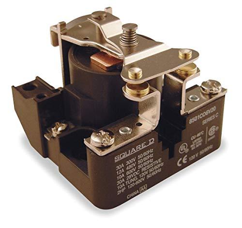 Square D Open Power Relay, 4 Pins, 120VAC Coil Volts, 40A 277VAC/28VDC Contact Amp Rating (Resistive) - 8501CO6V20