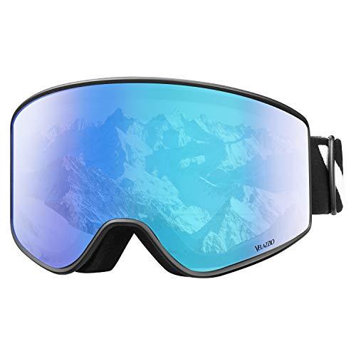 VELAZZIO Ski Goggles, Snowboard Goggles - Double Layer Interchangeable Lens, UV Protection, Anti-Fog, Snow Goggles for Men & Women