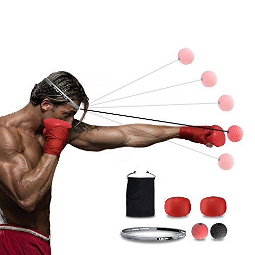 Boxing Reflex Ball with Gloves and Headband, 2 Difficulty Level Punching Balls for Training to Improve Reactions and Speed,MMA Boxing Gym Equipment Mach for Training by SmartUlife by SmartUlife