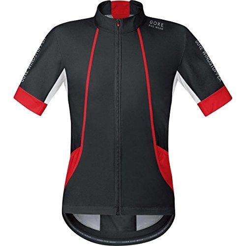 GORE BIKE WEAR, Men´s, Road cyclist jersey, Short sleeves, OXYGEN, GORE WINDSTOPPER Soft Shell, Size L, Black/Red, (Gore Bike Wear Mesh Jersey)