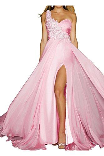 Ange Grâce Mariée Une Épaule Côté Robe De Soirée Formelle Soir Divisée Robe De Bal Rose