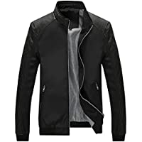 Springrain Men's Casual Stand Colar Slim Leather Sleeve Bomber Jacket