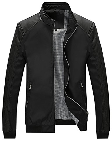 (Springrain Men's Casual Stand Collar Slim Leather Sleeve Bomber Jacket (Large, Black))