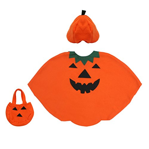 (fedio 3Pcs Kids Halloween Pumpkin Costume Dress up Set with Pumpkin Hat and Pumpkin Bag for Children)