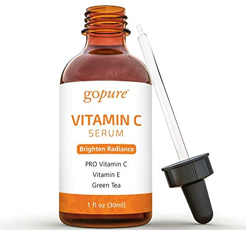 goPure Face Vitamin C Serum - With Vitamin E, Ferulic Acid, Aloe Vera - Anti Aging Vitamin C Facial Serum - Antioxidant Serum - 1oz
