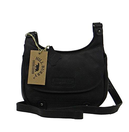 Hill Burry Tasche, Ledertasche,Vintage, Damen,Handtasche, Umhängetasche schwarz