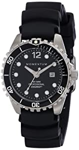 Women's Quartz Watch | M1 Mini by Momentum| Stainless Steel Watches for Women | Dive Watch with Japanese Movement & Analog Display | Water Resistant ladies watch with Date –Black / Black Rubber