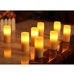 Led Votive Candle with Remote,Pillar,2x4inch,Ivory,Work with 2AA batteries,Set of 2