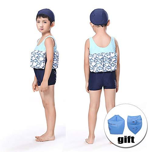 FORNY Kids Swim Vest Life Jacket Floatation Swimsuits One-Piece Buoyancy Swimwear (Dark Blue Fish, S)