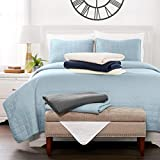Sharon Osbourne Home Luxury Ultra Soft Square Quilted Coverlet - King/California King, Cool Blue