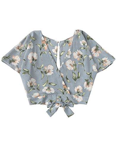 Floerns Women's Summer Sexy Deep V Keyhole Back Floral Crop Blouse Blue M