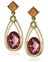 Women's Gold Multi Double Drop Post Earrings, One Size