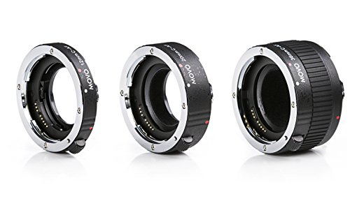 Movo MT-C68 3-Piece AF Chrome Macro Extension Tube Set for Canon EOS DSLR Camera with 12mm, 20mm, 36mm Tubes