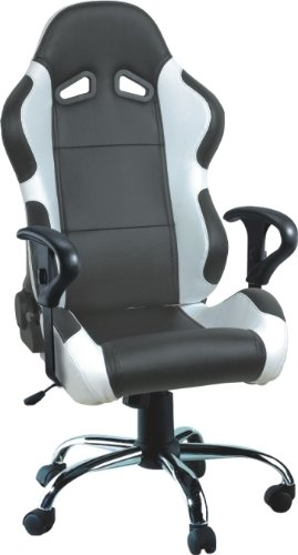 Computer Office Racing Bucket Seat Chair BlackSilver Amazonco - Computer chair uk