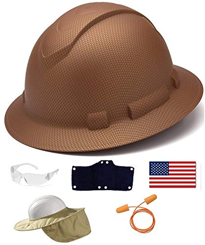 Pyramex Safety Full Brim Hard Hat Adjustable Ratchet 4 Pt Suspension Graphite Pattern Copper Matte + 3 Hard Hat Sweatband + Clear Safety Glasses + Hard Hat Neck Shade + Ear Plugs + American Flag Decal