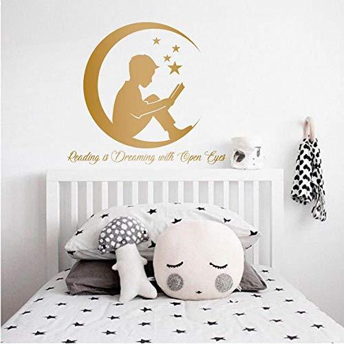 - Wall Sticker Boy Reading Books Wall Art Stickers Bedroom Book Lover Quote Vinyl Decals Mural Moon Stars Sticker Classroom School Decor63X57 cm
