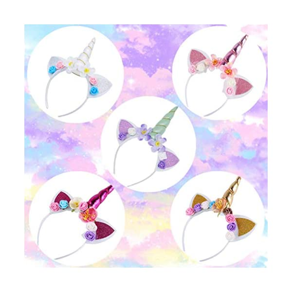 5PC Glitter Unicorn Horn Headband, Flower Ears Unicorn Headbands for Girls, Birthday Party Supplies, Favors and… 7