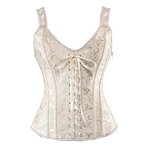 - Grebrafan Gothic Lace up Boned Strap Corsets Bustiers Top (US(6-8) M, Beige)