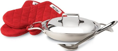 All-Clad BD551508 Brushed d5 Stainless Steel 2-Quart All-Purpose Pan with Oven Mitts / Spoon and Domed Lid / Cookware, Silver