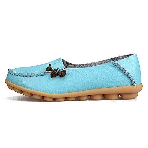 SCIEU Women's Leather Slip-On Loafers Driving Moccasins Casual Flat Shoes Sky Blue K2sv0aG5