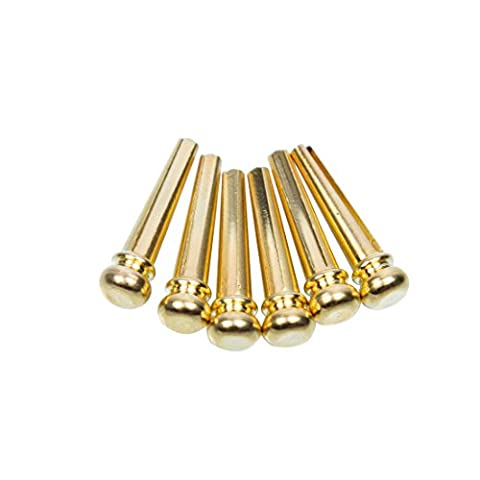 Guitar Bridge Pins 6pcs Brass Endpin 6 String Pegs With Electric Gold Plating Acoustic Guitar Replacement Parts - (Acoustic Guitar Peg Winder)