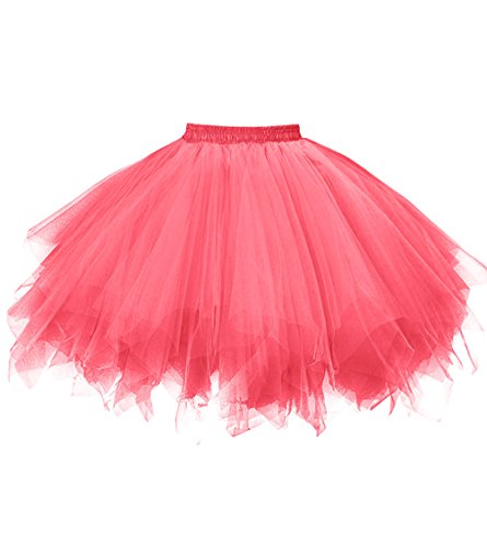 Dresstore Women's Short Vintage Petticoat Skirt Ballet Bubble Tutu Multi-colored Watermelon XXL ()