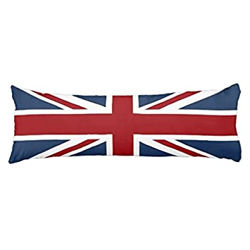 Himoud Union Jack Flag Red White and Blue Body Pillow Covers Cases With Double Sided 20x54