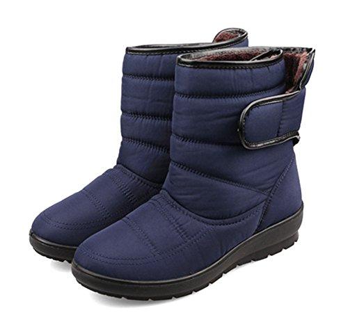 Aisun Womens Comode Stivali Da Neve Caldi In Velcro Impermeabili Caldi Blu