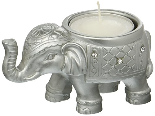 Fashioncraft Good Luck Silver Indian Elephant Candle -